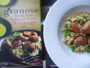 Lincoshire meat -free sausage with pea risotto
