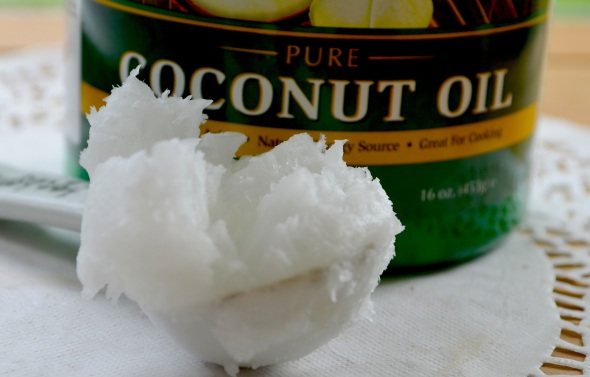 Here is the type of coconut oil that you should use. It is solid in room temperature, melts easily between your fingers and it is very light in weight.
