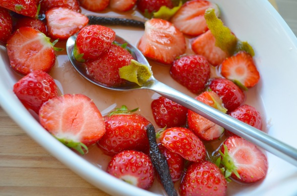 Strawberries with long peppers and lime syrup